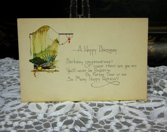 Antique Postcard, Happy Birthday, Vintage Ephemera, Birthday Verse