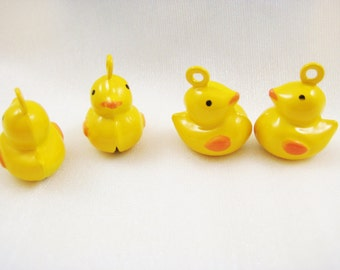 4 Pieces Yellow Ducky Ducks Animal Jingle Bell Charms