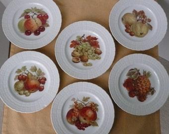 REDUCED - Set of SIX Hutschenreuther Fruit and Nut Porcelain Dessert or Salad Plates