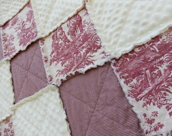 Throw Size Red Toile Rag Quilt, French Country Blanket, Shabby Farmhouse Toile Blanket with Minky, French Country Quilt, Handmade in NJ