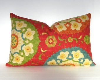 """Both Sides - Decorative Pillow Cover - Suzani - Lumbar in Cadmium Red - Blue - Yellow - 12x18,12x20.12x22.14x20"""""""