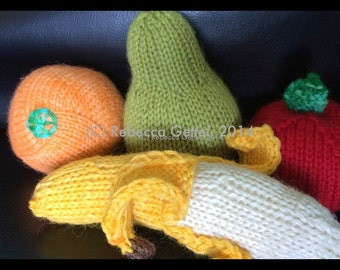 Fruit, play food, knitting pattern, instant download