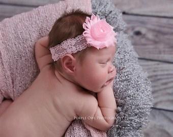 Pink baby hair bow, hairband, baby headband, newborn headband, infant headband, photo prop, pink shabby flower headband, pink baby headband