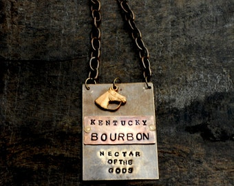 The  Bourbon Bottle Tag Collection - The Riveted Series  - Brass Copper Layered Metal Tags Vintage Equestrian Horse Charms.  Original Design