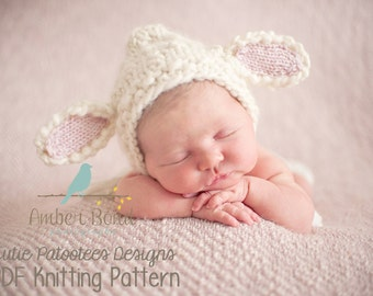 Little Lambykins Hat PDF Knitting Pattern for Newborn, Baby, and Child Easter Lamb/ Photo Prop