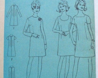 Vintage Sewing Pattern For Half Size Dress with Three Necklines - Simplicity 7696 - Size 14 1/2, Bust 37, Uncut