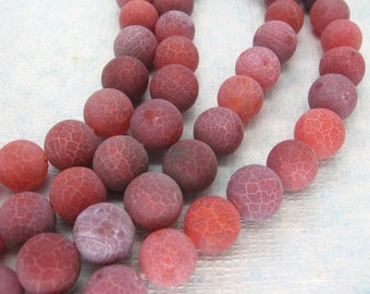 Beautiful Red Purple Weathering Agate Round Loose Beads 10mm