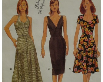 Three Summer Dresses Pattern, Halter Dress, Fitted Bodice, V-Neck, Open Neck, Midriff, Fitted Skirt, Vogue No. 9668 Size 6 8 10