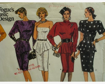 SALE 30% OFF Strapless Peplum Dress Pattern, Fitted Skirt, Dolman Sleeves, High Collar, Shaped Overskirt, Vogue No. 1760 UNCUT Size 12 14 16