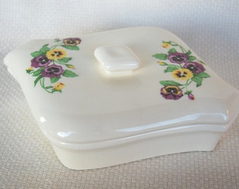 Vintage Pottery Pansy Trinket Box Odd and Interesting Shape by Richard M Gould Co California Floral Keepsake Box