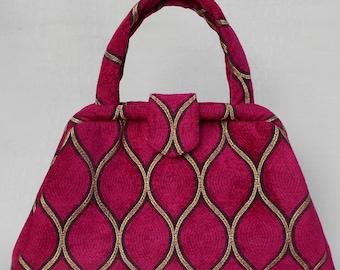Fuchsia Chenille Handbag