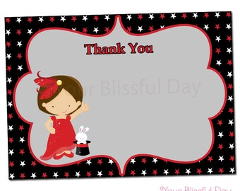 PRINTABLE Girl Magic Show Thank You Cards #550