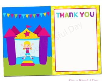 PRINTABLE Girl Bounce House Thank You Cards #508