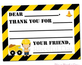 PRINTABLE Construction Boy Fill-in-the-Blank Thank You Cards #521
