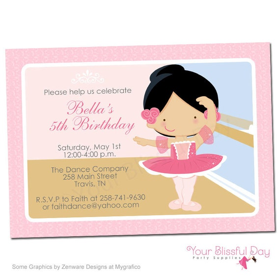 PRINTABLE Ballerina Party Invitation (Character of your choice) #503