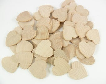 "Wood Hearts Wedding Guest Book 1 1/4"" x 1 1/4"" x 1/8"" Unfinished Wood Hearts - 100 Pieces"