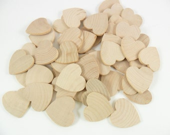 "100 Wood Hearts 1 1/4"" x 1 1/4"" x 1/8"" Unfinished Wood Hearts Wedding Guest Book"