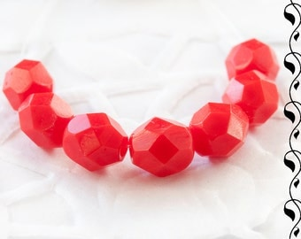 20 Czech Fire Polished Beads 6 mm Red