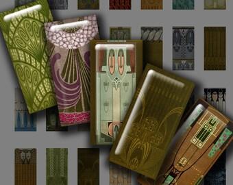 JUGENDSTIL Mini Domino size - Digital Printable collage sheet for Pendants Jewelry Magnets Crafts...Art Nouveau Vienna Secessionist