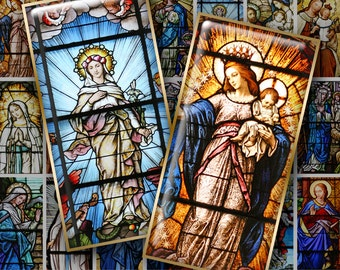 QUEEN OF HEAVEN No. 1 - 1x2 inch Domino size - Digital Printable Stained Glass Photos & Religious Art for Pendants Magnets Crafts