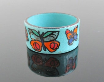 Enameled Butterfly Band / Ring - Vintage, Light Blue