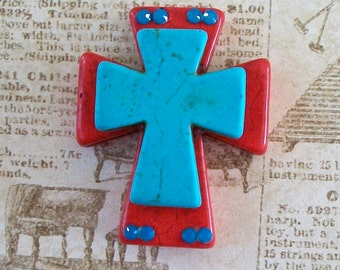 Large Stacked Red Stone Cross with Turquoise Blue Stone Cross and Bling