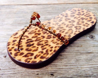 Bridesmaid, Maid of Honor, Wedding, Gift, Favor, Flip Flop Magnet, Leopard print, Animal, Brown, Orange, Summer