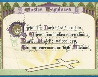 Easter Happiness Vintage Raphael Tuck antique postcard, 1909 cancel, Cross crucifix verse poem