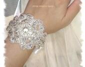 Bridal Cuff Bracelet, Beaded Rhinestone Crystal Wedding Cuff Bracelet, Bridal Wedding Silver Bracelet, Bridesmaid Bracelet, No. 1166CB