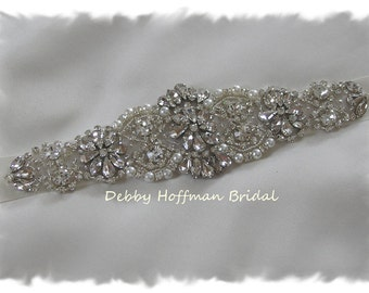 Pearl Bridal Headpiece, Jeweled Pearl Wedding Headpiece, Pearl Rhinestone Bridal Headband, Pearl Crystal Wedding Headband, No. 4060HB, SALE