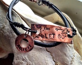 Leather wrapped Stamped Bracelet