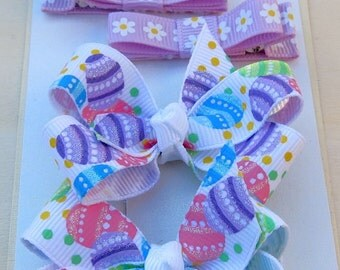 Easter Hair Clippies and Mini Boutique Hairbow Combination Set