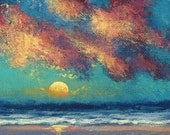 Original Handpainted ACEO Impressionistic Seascape Sunset Art by Ed McCarthy