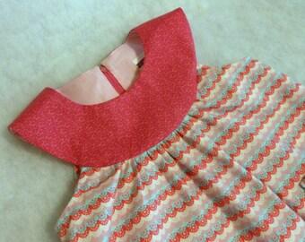 Toddler Dress Scalloped Stripes with Rose Yoke