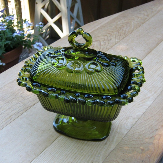 Indiana Glass Co Open Lace Edge Covered Candy Dish In Avocado