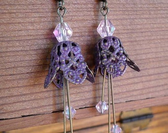 Purple Dusted Brass Fairy Bell earrings with pink crystals