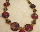 Red and Gold Flower Necklace