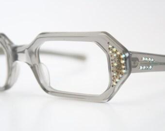 Gray Rhinestone cat eye eyeglasses  vintage cat eye glasses frames Cateye frames