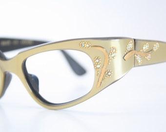 Green Wrap Rhinestone cat eye eyeglasses  vintage cat eye glasses frames Cateye frames