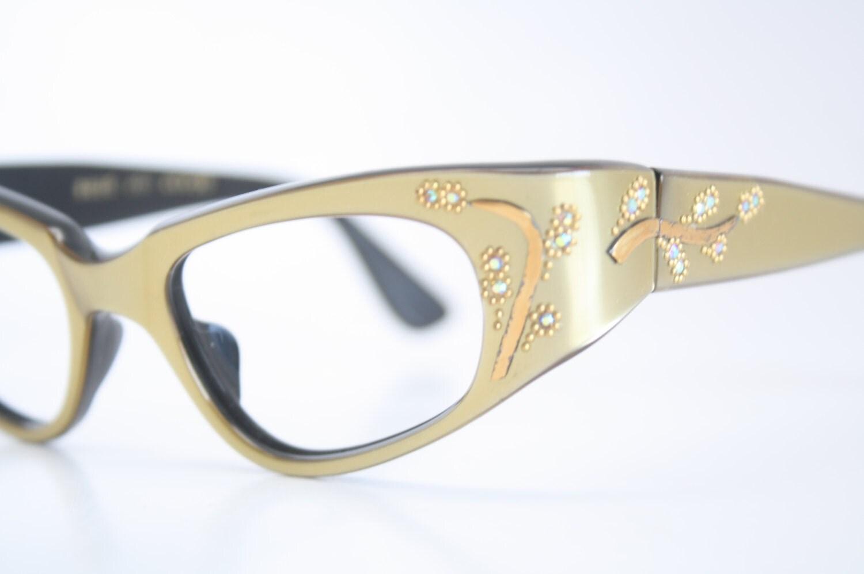 Cat Eye Rhinestone Eyeglass Frames : Green Wrap Rhinestone cat eye eyeglasses vintage cat eye