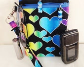 Blue-Rainbow-Heart--Quilted-Wristlet-Cell Phone-Quilted-Mini Pouch-Wallet-ID-Cigarette Case & More