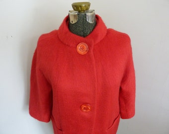 1960's Mod Swing Coat Bright Red Wool and Mohair