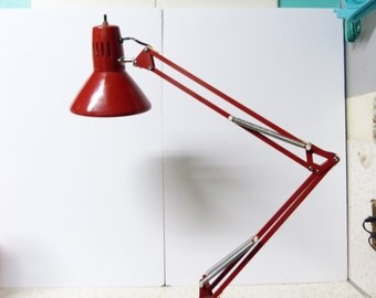 Vintage Bright Red Task Lamp Clamp On Luxo Style Tension Task Lamp Industrial/ Artist/ Drafting Lamp