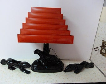 Beautiful 1950's Black Panther Lamp With Red Tiered Shade and Matching Planters