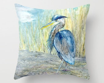 Decorative Pillow Cover - Great Blue Heron - Throw Pillow Cushion - Fine Art Home Decor