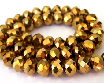 15 gold metallic 8mm beads, Chinese crystal rondelles
