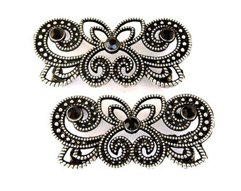 Black and silver 2 hole spacer beads, marcasite style, Czech rhinestones, large fancy black sliders, qty 2