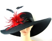 Black Derby Hat with Red feathers,Church Hat,Fascinator, Dressy Hat ,Formal Hat, Wedding Hat, Kentucky Derby Hat,Special Occasion