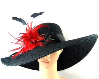 Handmade Red feathers Flowers Derby Hat, Black Wide Brim with Wire, Church Hat, Dressy Hat ,Formal Hat, Wedding Hat, Kentucky Derby Hat
