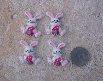 Easter Bunny Flatback Cabochon - Set of 4